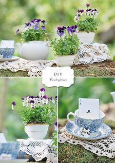 DIY centerpieces for the garden party/tea themed bridal shower. Colors are lavendar/purple and green.