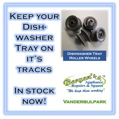 Is your dishwasher tray going off the rails?  Get it fixed with a new set of Dishwasher Tray Rollers.  We've got various roller wheels in stock for all makes and models.  #cleandishes #dishes #dishwasher #wefix #bergensappliances #wekeepthemworking #quote #inthekitchen #vanderbijlpark  Vanderbijlpark Branch Follow us on Instagram and Pinterest WhatsApp:   076 960 6467 Email:   vanderbijlpark@bergens.co.za