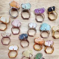 Ring with Raw Diamond Quartz Sapphire Fluorite Aquamarine Topaz Amethyst Amazonite Moonstone Tourmaline Garnet Onyx Rough
