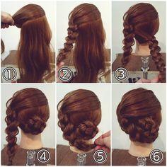 三つ編みアレンジ ① このように斜めに上下に分けます。 ② 上の髪を斜めに下がっている方に三つ編みを編みます。少しずつ髪をつまみ引き出して柔らかさを出しておきます。毛先を折り返してゴムで結んでおきます。 ③ 下の髪も三つ編みにします。こちらも毛先は折り返してゴムで結びます(あとで毛先をおさめやすいので) ④ 下の三つ編みを巻きつけるようにお団子にしてピンで留めます。 ⑤ 上の三つ編みをお団子に巻きつけるようにして… ⑥ ピンで留めたら出来上がりです! #横浜美容室#ヘアサロン#ヘアエステ#美容室#ヘアアレンジ#ヘアアレンジ解説#ヘアアレンジプロセス#簡単アレンジ#まとめ髪#ヘアスタイル#三つ編み#三つ編みアレンジ#アップアレンジ#横浜#石川町#元町#nest