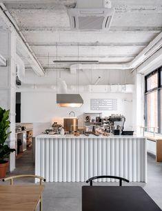 Asketik creates stark white coffee shop in Soviet silk factory Coffee Shop Interior Design, Coffee Shop Design, Cafe Design, Küchen Design, Design Ideas, Cafe Shop, Cafe Bar, Small Coffee Shop, Coffee Shops