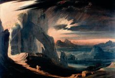 The Expulsion of Adam and Eve from Paradise by John Martin. From the collection of the Laing Art Gallery, Newcastle upon Tyne. Your Paintings, Landscape Paintings, Landscapes, Landscape Art, English Romantic, Biblical Art, John Martin, Tumblr, Art Uk