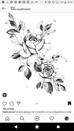 Rose Drawing Tattoo, P Tattoo, Tattoo Sketches, Tattoo Drawings, Hair Tattoos, Rose Tattoos, Flower Tattoos, Floral Tattoo Design, Flower Tattoo Designs