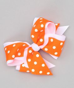 Take a look at this Picture Perfect Hair Bows Neon Orange Polka Dot Bow Clip by Picture Perfect Hair Bows on #zulily today!