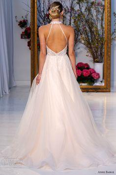 anne barge spring 2017 bridal sleevless lace embellished halter deep v neckline embellished lace bodice pretty a line ball gown wedding dress low back chapel train (005) bv