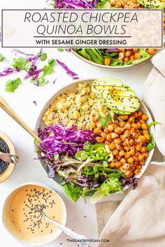 These Roasted Chickpea Quinoa Bowls with Sesame Ginger Dressing are perfect for vegan meal prepping or a healthy & filling dinner. Vegan Bowl Recipes, Superfood Recipes, Vegetarian Recipes, Healthy Recipes, Kale Recipes, Healthy Foods, Recipies, Vinaigrette, Sesame Ginger Dressing