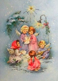 Christmas Card Images, Vintage Christmas Images, Christmas Past, Retro Christmas, Vintage Holiday, Christmas Greeting Cards, Christmas Pictures, Christmas Angels, Christmas Greetings