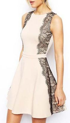 Woman Round Neck Sleeveless Skater Dress with Lace