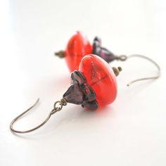 Red Glass Flower Earrings by bstrung on Etsy, $28.00