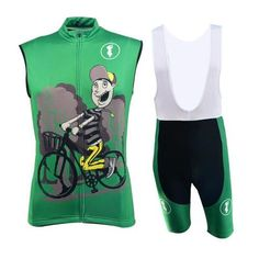 Men's Green Sleeveless Cycling Jersey Set #Cycling #CyclingGear #CyclingJersey #CyclingJerseySet