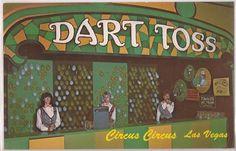 "Las Vegas, Nevada Postcard CIRCUS CIRCUS ""Dart Toss"" Arcade Game c1970s Unused #WeAre"