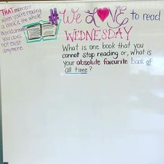 #welovetoread Wednesday. Tell me friends, what are your MUST READS? #miss5thswhiteboard Morning Meeting Question of the Day