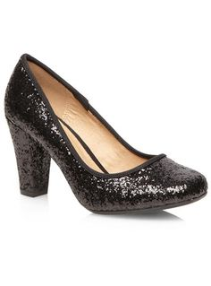 Evans Black Glitter Square Toe Heels - View All Footwear  - Shoes
