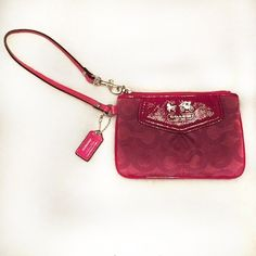 ⚡DELETING-️LAST CHANCE⚡️HP Pink Coach Wristlet Pink Coach wristlet in great condition with a synch on the front and silver lettering- has 2 stains on the front and a few on the back as seen in the pictures but they are not very noticeable- other wise in perfect condition and super cute! Feel free to make an offer and I do NOT trade Coach Bags Clutches & Wristlets