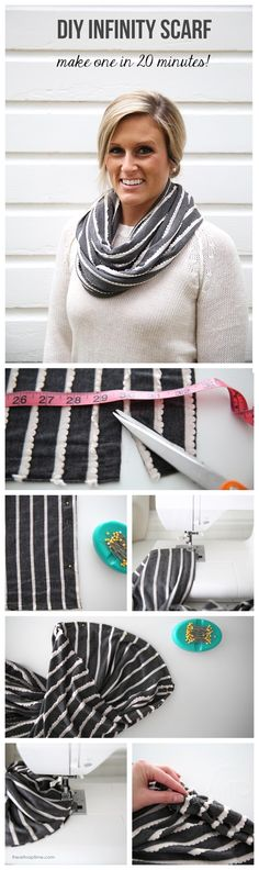 DIY infinity scarf tutorial on iheartnaptime.net ...make this cute scarf in 20 minutes for five bucks!