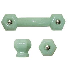 Green Country Glass Knobs in the style of green milk glass/jade-ite