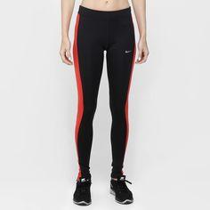 Calça Legging Nike Dri-Fit Pace Tight Preto e Vermelho | Netshoes