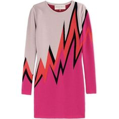 Emilio Pucci Pink Wool-Blend Color-Block Sweater Dress featuring polyvore, fashion, clothing, dresses, short dress, vestido, vestiti, pink, color block dress, colorblock dress, colorful dresses, emilio pucci dress and long sleeve dresses