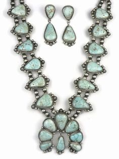 Natural Dry Creek Turquoise Squash Blossom Necklace Set by LaRose Ganadonegro from Southwest Silver Gallery http://www.southwestsilvergallery.com/AWSCategories/p/96/Squash-Blossom-Necklace