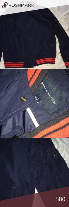 Tommy Hilfiger jacket Navy blue Tommy Hilfiger button up bomber jacket. Men's size L, never worn. New without tags Tommy Hilfiger Jackets & Coats Bomber & Varsity