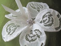 ivory magnolia wire lace petals bridal hair by MyFlowerWorld, $16.00