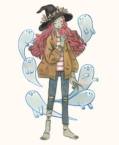 Zombie Witch by Heikala Art And Illustration, Illustrations, Zombie Illustration, Pretty Art, Cute Art, Character Design References, Character Art, Witch Drawing, Cartoon Kunst