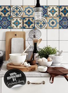 Oriental Damask Tile Stickers PACK OF 24 Ethnic Removable Backsplash Decals Traditional Tile Decal Moroccan Peel and Stick Tile Decals, Wall Tiles, New Kitchen, Kitchen Decor, Removable Backsplash, Küchen Design, Interior Design, Design Layouts, Household Tips