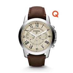 Q Grant Chronograph Dark Brown Leather Watch - Fossil