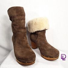 Ugg Womens Boots Lynnea Brown Suede Leather 6 High Heeled Studded Tan Sheepskin in Clothing, Shoes & Accessories, Women's Shoes, Boots | eBay