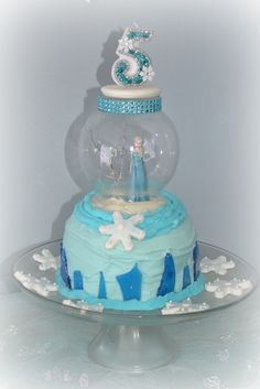 Disney Frozen Birthday Party cake!  See more party ideas at CatchMyParty.com!