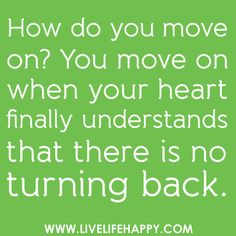 On moving on.