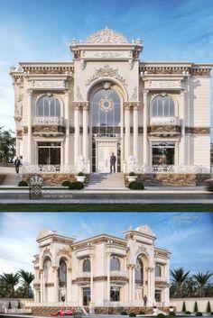 Dieb Studio - Abdulrahman Dieb - 00905373363552 House Arch Design, House Outside Design, Village House Design, Facade Design, Classic House Exterior, Classic House Design, Dream House Exterior, Luxury House Plans, Luxury Homes Dream Houses