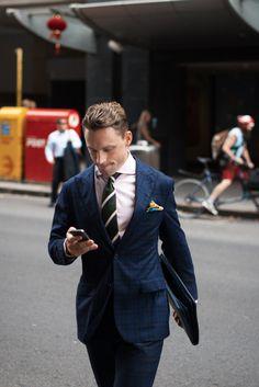 meninthistown:  Business pattern.  Similar look: Noose & Monkey Green Tartan Suit.