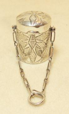 Pretty silver thimble case on a chain