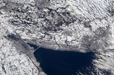 """The Golden Horseshoe snowily wrapping the end of Lake Ontario on the of January. This is the area ic Canada that makes the money from agriculture, manufacturing and tourism ext. Thus the term """"golden"""". Hamilton Ontario Canada, Canada Ontario, Earth View From Space, Golden Horseshoe, Chris Hadfield, The Blue Planet, Burlington Ontario, Space Photos, Amazing Pics"""