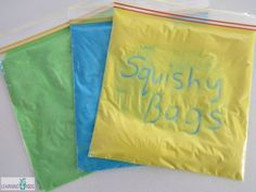 For one sensory bag, you will need 1 cup of flour, 6 tablespoons of water and food coloring.  Seal baggie with tape. Write with finger or q-tip.