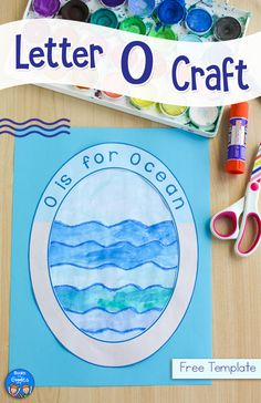 This letter O craft features the ocean in a free printable template that makes it super easy for you and your  kids. #lettercrafts #booksandgiggles #preschool #kindergarten