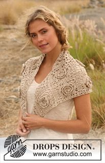 "Crochet DROPS shawl in ""Cotton Viscose"". ~ DROPS Design"