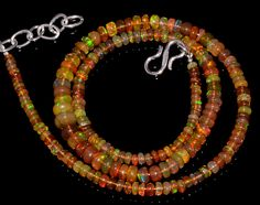 "46CRTS 3to6MM 18""ETHIOPIAN OPAL RONDELLE BEAUTIFUL BEADS NECKLACE OBI2831 #OPALBEADSINDIA"