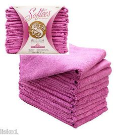 "Softees Microfiber Hair Salon Towels, Super Absorbent , 16""x 29"" (pink) 10-pk"