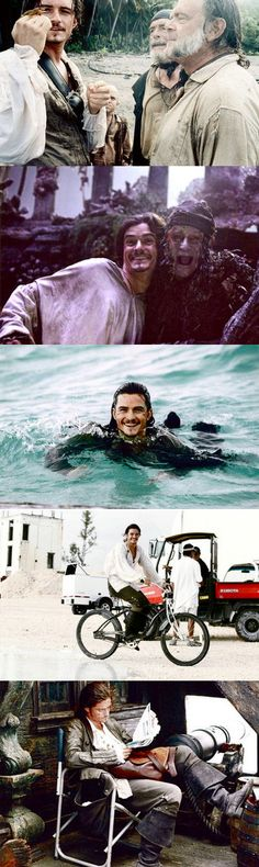 Orlando Bloom behind the scenes of Pirates of the Caribbean: Dead Man's Chest Will Turner, Captain Jack Sparrow, Legolas, Johnny Depp, Disney And Dreamworks, Disney Pixar, Film Pirates, Narnia, Film Anime