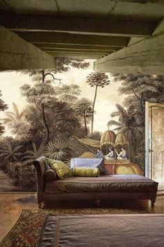 Beautifully nostalgic decor combines the heritage of a Period home together with mural of a Colonial scene merged with dark, dramatic colours for a room full of character. Scenic Wallpaper, Wall Wallpaper, Interior Wallpaper, Inspiration Wand, Interior Inspiration, Mural Art, Wall Murals, Deco Nature, British Colonial Style