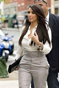 Kim Kardashian's High Waisted Pants -- Yes or No? (VIDEO)