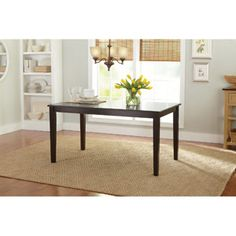 I wanted a 3' x 5' classic dining table in a dark stain - would you believe I found this Better Homes & Gardens table for $110 at Walmart?
