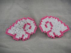 Pink and white anime perler wings