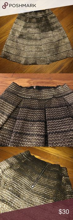 Gold, back zip, skirt! Gold, never worn, fun skirt! Slightly stretchy elastic waist. Francesca's Collections Skirts Mini