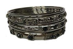 Embellished Antique Style Stackable Bangle Bracelet Set o...…