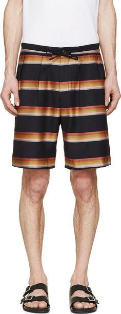 PAUL SMITH Navy Striped Trouser Shorts. #paulsmith #cloth #shorts