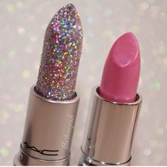 makeup lipstick make-up mac pink glitter beauty Mac Makeup, Love Makeup, Skin Makeup, Picture Makeup, Makeup Hacks, Makeup Kit, Makeup Geek, Makeup Remover, All Things Beauty