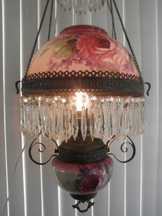 ANTIQUE RUBY  VICTORIAN HANGING OIL CHANDELIER HAND PAINTED ROSES  LAMP 1800's